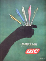 PUBLICITÉ 1959 BIC AUX COULEURS DE LA MODE NOUVEAUX STYLOS A BILLE AMORTISSEURS