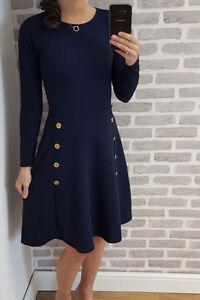 Women's Military Button Long Sleeve Skater Swing dress  Ladies UK 8-28 Plus Size
