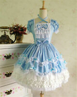 Lolita Gothic Maid Wear Girl Blue Fancy Dress Cosplay Costume Halloween