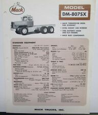 1966 Mack Trucks Model DM 807SX Diagram Dimensions Sales Brochure Original