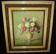GORGEOUS Antique FLORAL Bouquet Print with Gold Gilt Ornate Frame