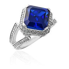 5.46 CARAT BLUE SAPPHIRE ASSCHER CUT SAPPHIRE UNIQUE DESIGNE RING WHITE GOLD