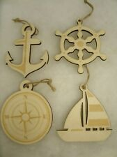 "Lot of 12 Wood Nautical Beach Ocean Ornaments - 4"" Compass, Sailboat, Anchor"