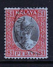 Perak 1938-41 $1 Black & Red SG 119 usata bene.