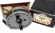 J W Young Rapidex centrepin reel grey finish & makers box