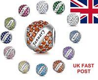 Genuine 925 Silver Birthstone Month Birthday Charm Bead Signature Heart ROUND UK
