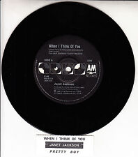 "JANET JACKSON  When I Think Of You 7"" 45 rpm vinyl record + juke box title strip"