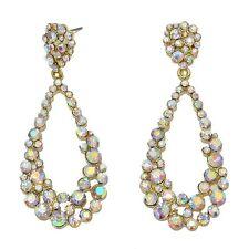 Golden Aurora Borealis diamante earrings sparkly prom party bridal dangly 0368