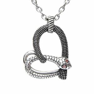 Snake Heart Necklace Temptation Pendant Stainless Steel with CZS Controse