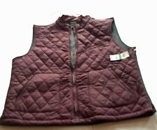 TASSO ELBA Trapa Burgundy Quilted Grey Fleece Vest Size Large **NWT