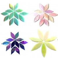 Stained Glass Hand Cut Petal & Leaf Mosaic Tiles in a Choice of Colours & Sizes