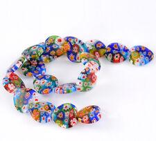 1 Strand Heart Flower Pattern Millefiori Glass Lampwork Loose Beads 19x19mm