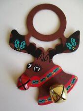 Leather Belsnickel Rudolph Red Nose Bells Reindeer Door Knob Xmas Decoration