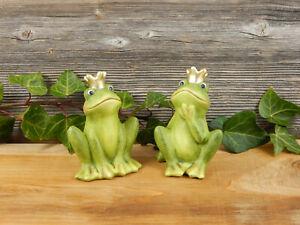 Frosch Froschkönig 2er SET Frosch mit Krone Dekofigur Haus Frühling Deko grün
