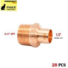 "1/2"" C x 3/4"" Male NPT Threaded Copper Adapters (20 PCS )"