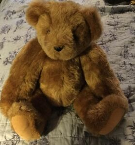 "Vintage 15"" Vermont Teddy Bear Fully Jointed Tan Plush Stuffed Animal Aug 2009"