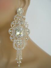 """GOLD CHANDELIER  POST EARRINGS PAGEANT BRIDAL COSTUME STAGE DRAG QUEEN 5.5""""L"""