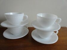 Vintage Federal Milk Glass Cups Saucer Set of 8 Diamond Pattern Mugs with Labels