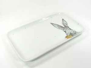 "NEW Pier 1 Imports SKETCH BUNNY 14.5"" Platter Treat Tray Rabbit Flower Easter"