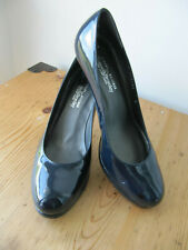Russell & Bromley Navy Blue Patent Leather Stiletto Heel Court Shoes UK 6 (US 8)