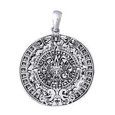 925 Sterling Silver Mayan Maya Aztec Inca Historic 2012 Calendar Large Pendant