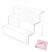 3 Steps Acrylic Riser Display Shelf for Amiibo Funko Pops Figures Clear 9 inches