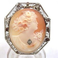 Antique Cameo Habille Pendant / Brooch Diamond Accented in 14K White Gold