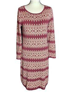 Monsoon Ladies Burgundy & Cream Cotton  Floral Jumper Dress Size S (A2)