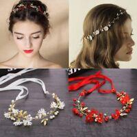 Women Flower Headband Ribbon Wreath Wedding Party Girls Garlands Crown Hairband