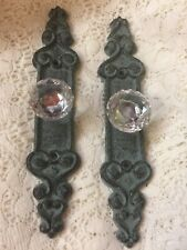 2 Long Crystal Glass Ornate cabinet drawer pulls knobs handles with Cast Iron