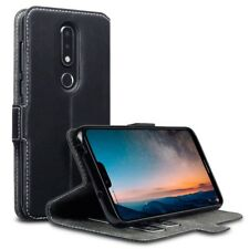 Nokia 6.1 Plus Ultra Thin PU Leather Wallet Card Case with Stand in Black