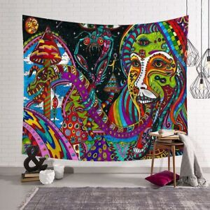 Psychedelic Backdrop - The Woman and the Mushroom Tapestry Wall Hanging Psy Art