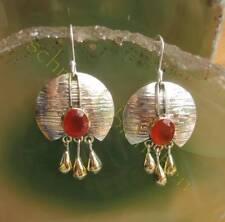 Pendiente Cornalina Rojo Piedra De Aries cristal dorado gotas plata esterlina