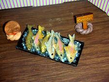 Metalltablett mit frischen Fischen /Nr.6//Diorama/Rauchfang/Catrichen 1:12
