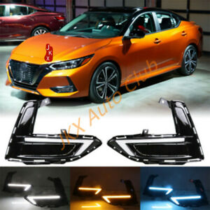For Nissan Sentra 20-21 3 Color LED DRL Daytime Running Fog Lamp Light j Set