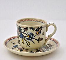 Gien faïence Tasse sous-tasse corne abondance french ceramic XIXème