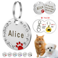 Bling Personalised Rhinestone Dog Tag Cat Engraved Paw Print with Bell Puppy Dog