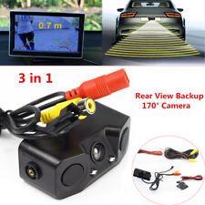 3in1 Car Rear View Backup 170° View Angle Camera Parking Reversing Radar Sensor