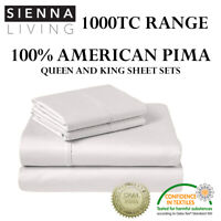 SIENNA LIVING 1000TC THREAD COUNT 100% AMERICAN PIMA COTTON SHEET SETS 4 COLOURS