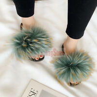 Luxury Women's Fluffy Real Raccoon Fur Sandal Shoes Flat Slides Indoor Slippers