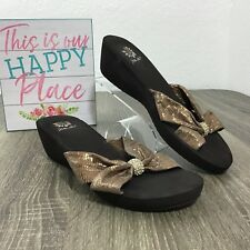 175b014e7 Yellow Box Brown Wedge Sandals Metallic Criss Cross Strap Bow Bling Slip On  Sz 7