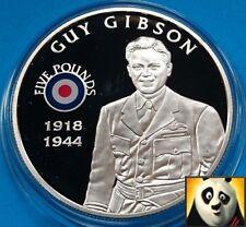 2008 St Helena £ 5 Cinque sterline STORIA DELLA RAF Guy Gibson argento Proof Coin + COA