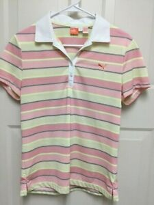 Gently Used Large  PUMA Golf Women's Roadmap Stripe Polo Shirt Dry Cell