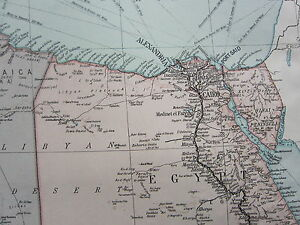 1919 LARGE MAP ~ AFRICA NORTH EAST ~ EGYPT LIBYA ANGLO-EGYPTIAN SUDAN SUEZ CANAL