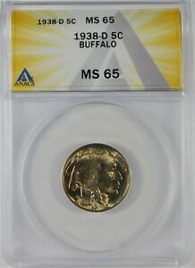 1938-D 5c Indian Head Buffalo Nickel Coin ANACS MS65