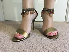Next Gold High Heel Strappy Detail Shoes Size 7 Eu 40