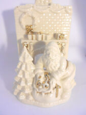Lenox Santa & Fireplace White Porcelain Tealight Candle Holder w/ Gold Accents