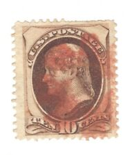 Scott 150 Early US Stamp 10c Jefferson ...1870-71.. Red Cancel