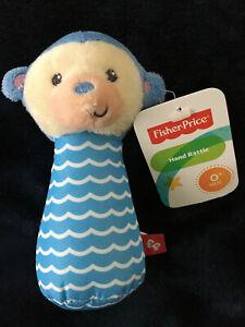 NWT Fisher price plush wavy striped blue monkey hand rattle stuffed animal toy