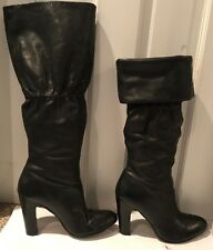 No 704 Penny Black Cuffable Leather Knee High High Boots Size 7.5 US / 38.5 EU